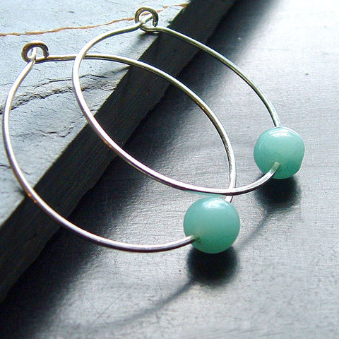 Silver,Hoop,Earrings,,Amazonite,Hoops,,sterling,silver,jewelry, jewellery, hoop earrings, silver hoop earrings, amazonite hoops, lightweight hoops, kdavisstudios, artistikat