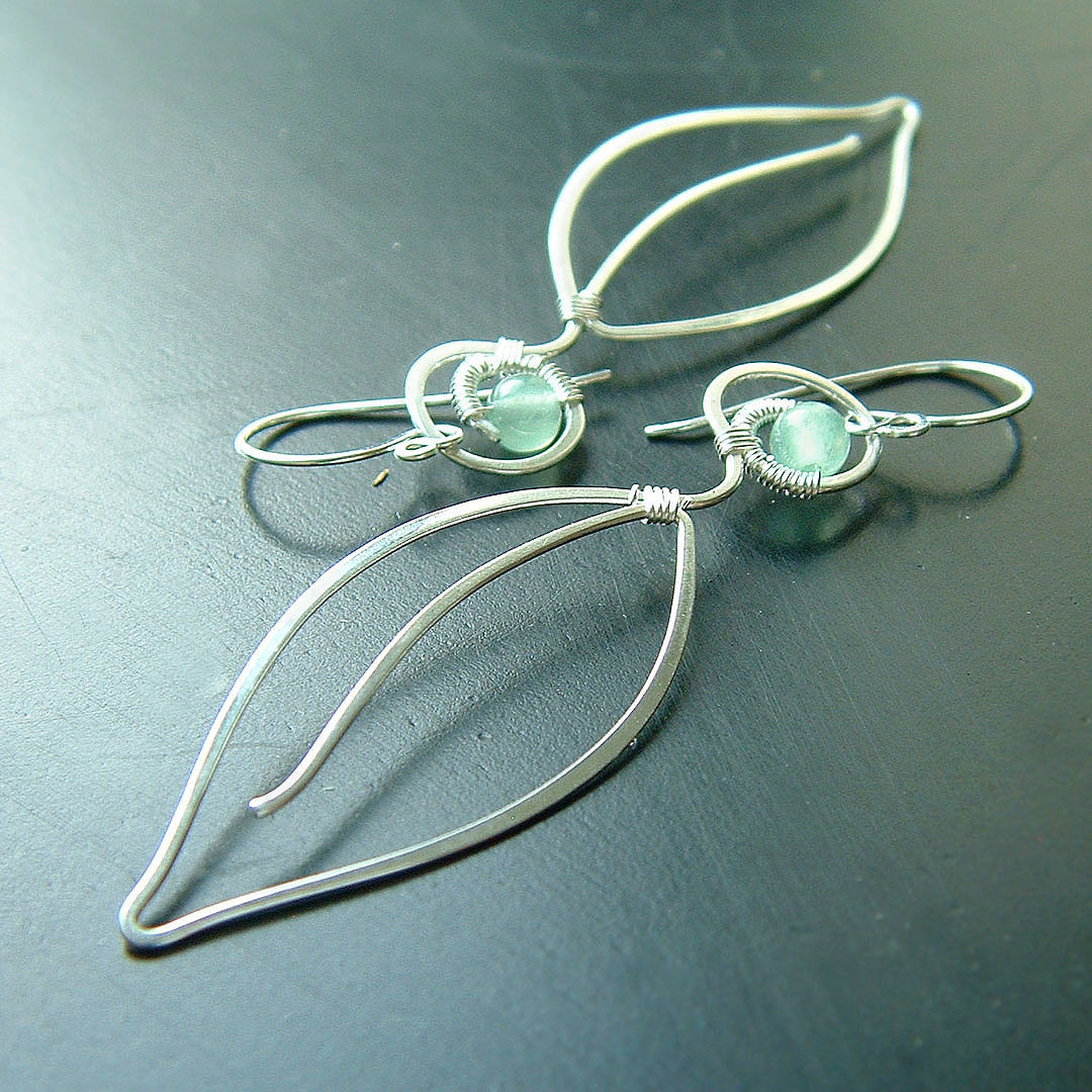 Long Silver Earrings Long Leaves Silver Wire Wrap - K Davis Studios