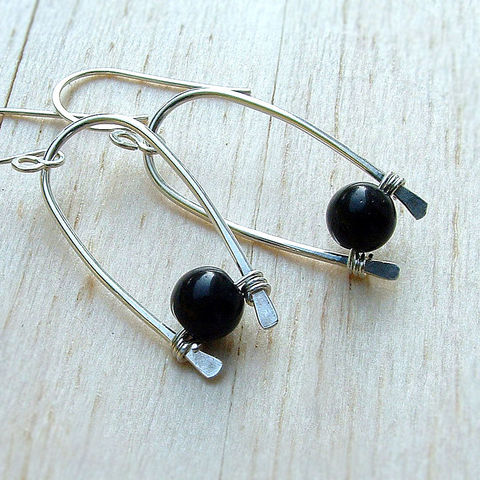 Silver,Inverted,Hoop,Dangle,Earrings,jewelry, earrings, silver earrings, black beaded earring, dangle earrings, unusual, black obsidian, gift for her, gift idea