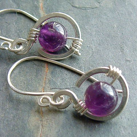 Small,Silver,Amethyst,Earrings,jewelry, earrings, amethyst earring, small earrings, sterling silver, simple silver earring, tiny dangle earring, handmade earrings, artistikat, kdavisstudios, gift for her