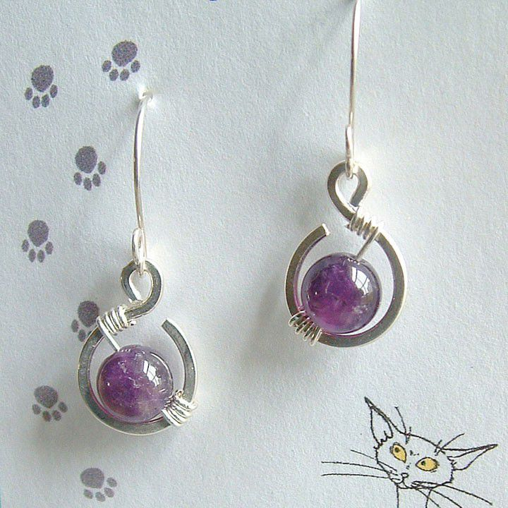 Small Silver Amethyst Earrings - product images  of