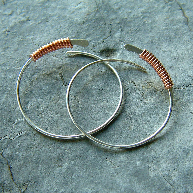 Sterling Silver Hoop Earrings Copper Wire Wrapped Silver Hoops Large - product images  of