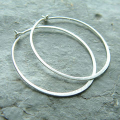 Sterling Silver Hoop Earrings, Brushed Finish - product images  of