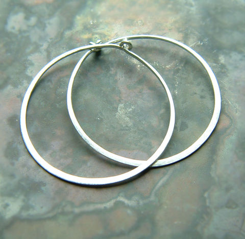 Sterling,Silver,Hoop,Earrings,,Brushed,Finish,Jewelry, jewellery, earrings, sterling silver earring, hoop earrings, silver hoops, large hoops, kdavisstudios, gift for her, eco friendly hoops, minimal earrings, classic hoops