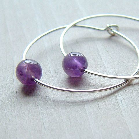 Amethyst,Silver,Hoop,Earrings,,amethyst,jewelry, earrings, hoops, amethyst earrings, amethyst hoos, simple earrings, simple jewelry, gemstone jewelry, artistikat, kdavisstudios, gift for her, gift idea