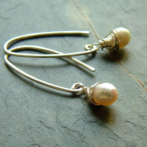 Sterling,Silver,Wire,Wrapped,Freshwater,Pearl,Earrings,jewelry earrings, pearl earrings, silver earrings, white pearl, simple earrings, elegant earrings, dangle earring, simple jewelry, kdavisstudios, gift for her, gift idea