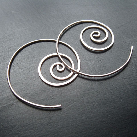 Sterling,Silver,Hoops,,Unraveling,Hoop,Earrings,jewelry, earrings, silver hoops, hoop earrings, open hoop, coiled earring, simple silver earring, kdavisstudios, gift for her, gift idea