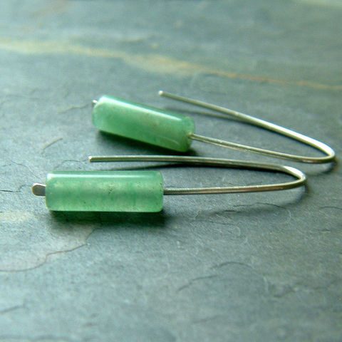 Modern,Open,Hoop,Earrings,,Green,Aventurine,jewelry, earrings, hoop earrings, green earrings, modern earrings, sterling silver, aventurine earring, hook earring, gemstone earring, gift for her