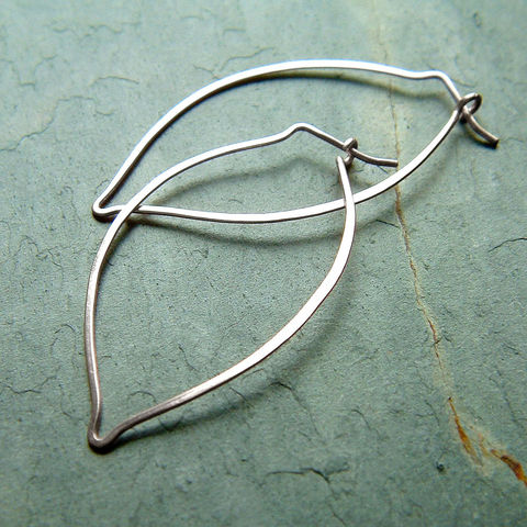 Hoop,Earrings,Sterling,Silver,Leaf,Hoops,botanical,nature,jewelry,jewellery, jewelry, hoops, leaf hoops, long hoops, silver hoops, botanical jewelry, handmade hoops, kdavisstudios, gift for her