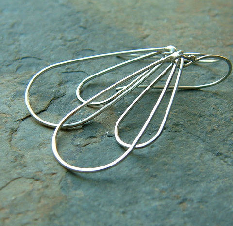Silver,Teardrop,Earrings,jewelry, jewellery, hoop dangle earrings, silver earrings, silver teardrop, long earrings, handmade earrings, kdavisstudios, gift idea, long silver earring