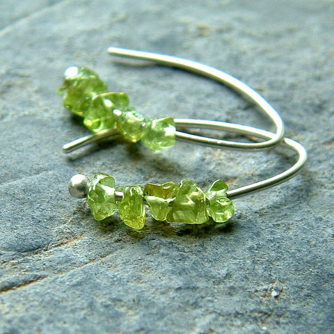Sterling,Silver,Open,Hoops,with,Peridot,silver earrings, gemstone earrings, sterling silver open hoops, small hoop earrings, peridot earrings, modern earrings, small earrings