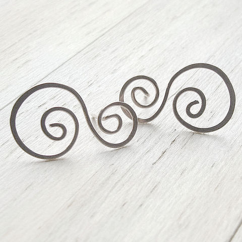 Silver,Post,Earrings,,swirled,stud,earrings,,Rolling,Waves,jewelry, earrings, post earrings, stud earrings, silver earrings, swirl earrings, handmade jewelry, gift for her, K Davis Studios, beach jewelry, summer earrings