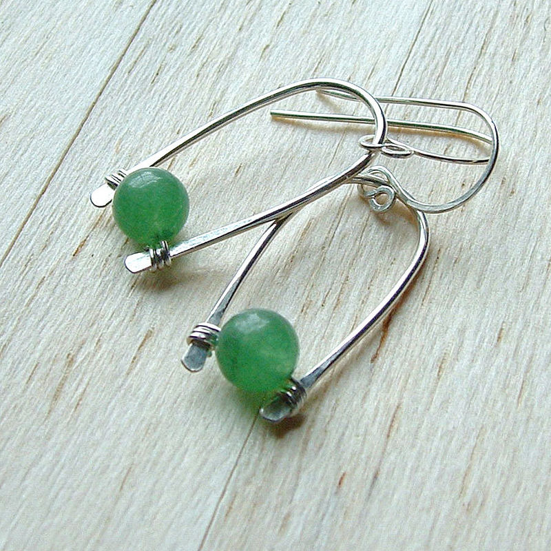 Sterling Silver Inverted Hoop Earrings Green Aventurine - product images  of