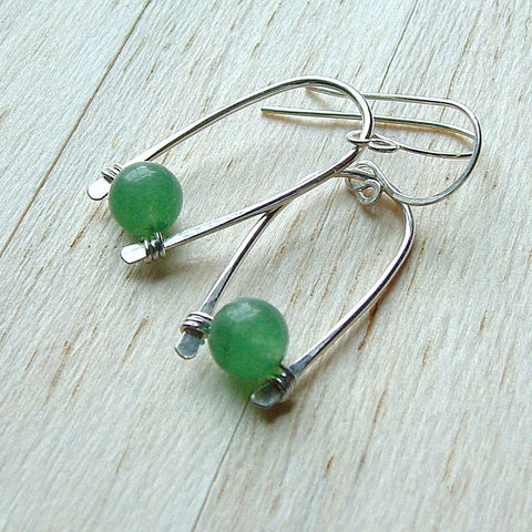 Sterling,Silver,Inverted,Hoop,Earrings,Green,Aventurine,jewelry, earrings, hoop, hoop earrings, silver hoop earrings, inverted hoop earrings, gemstone earrings, dangle earrings, K Davis Studios