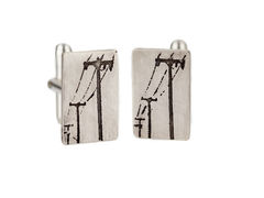 Cufflinks-,Telegraph,wire,cufflinks,telegraph wire cufflinks, sterling silver, etched, oxidised, contemporary cufflinks, handmade jewellery, edgy groom