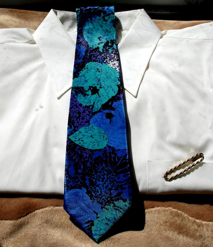 Mens Indian Head High Fashion Tie In Teal Blue Purple Cream And Black - product images  of