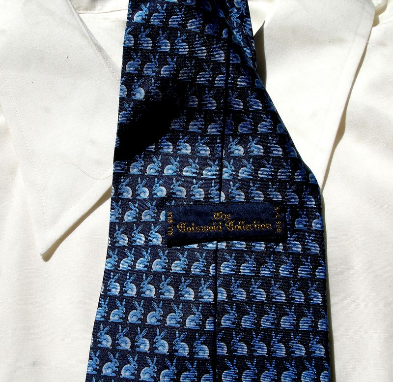 Mens Cotswold Collection Tie With Small Blue And White Bunnies On Black Background - product images  of