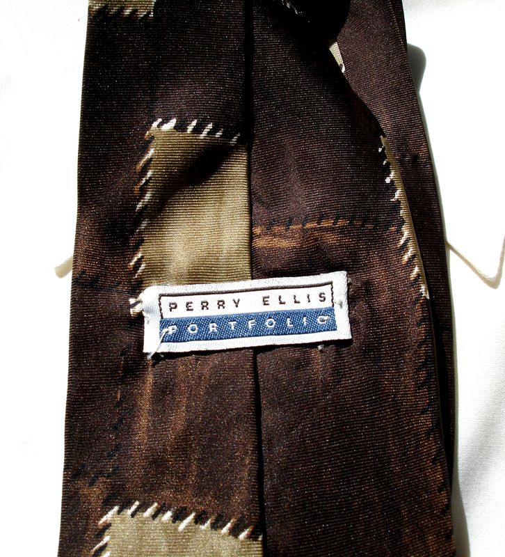 Mens Perry Ellis Portfolio Shades Of Brown Patchwork All Silk Tie  - product images  of