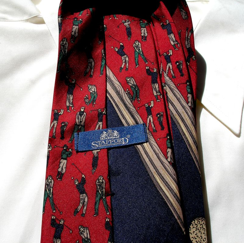 Men's Vintage Golf Tie By Stafford In Red Blue Tan And Green  - product images  of
