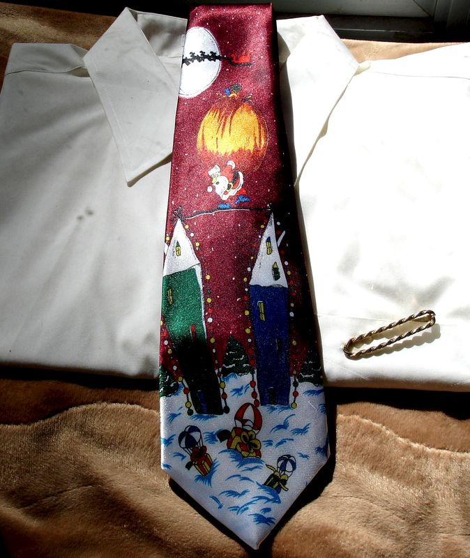 Men's Christmas Tie With Santa On A Tightrope Making His Deliveries - product images  of