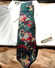 Men's,Christmas,Tie,by,Cape,Cod,Neckwear,With,Santa,In,His,Workshop,Surrounded,By,Toys,men's tie, men's ties, Cape Cod Neckwear, Christmas tie, Santa tie, silk tie, men's accessory Two Artisan Sisters