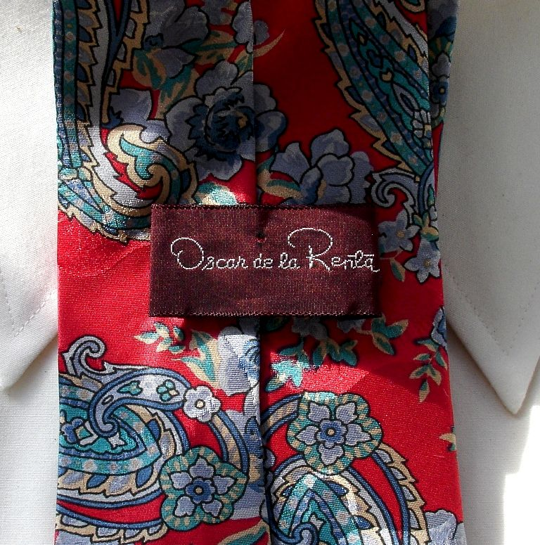 Men's Oscar de la Renta Red Blue And Gold Paisley Silk Tie  - product images  of