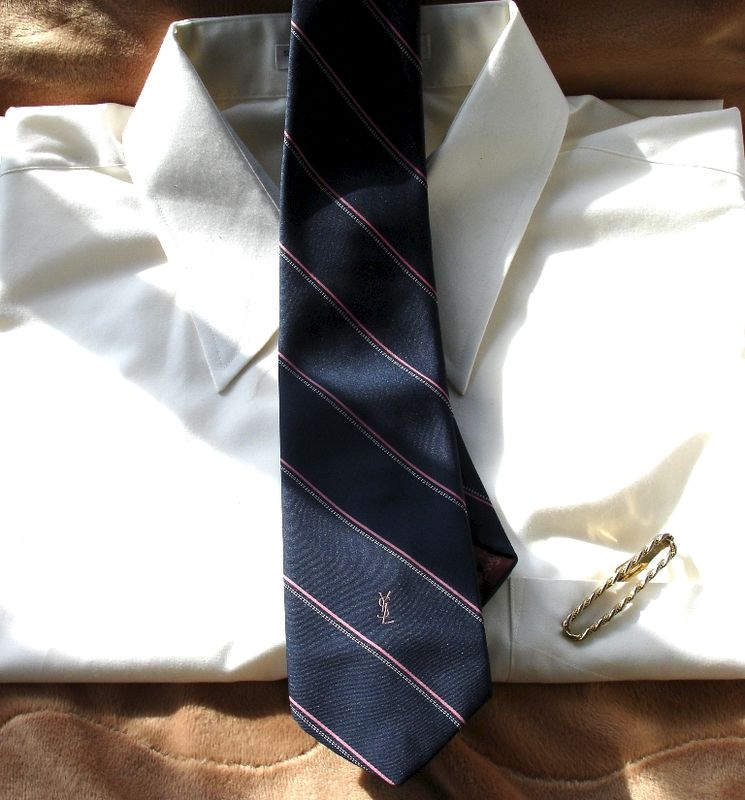 Men's Yves Saint Laurent Navy Blue With Hot Pink And White Stripes Tie - product images  of