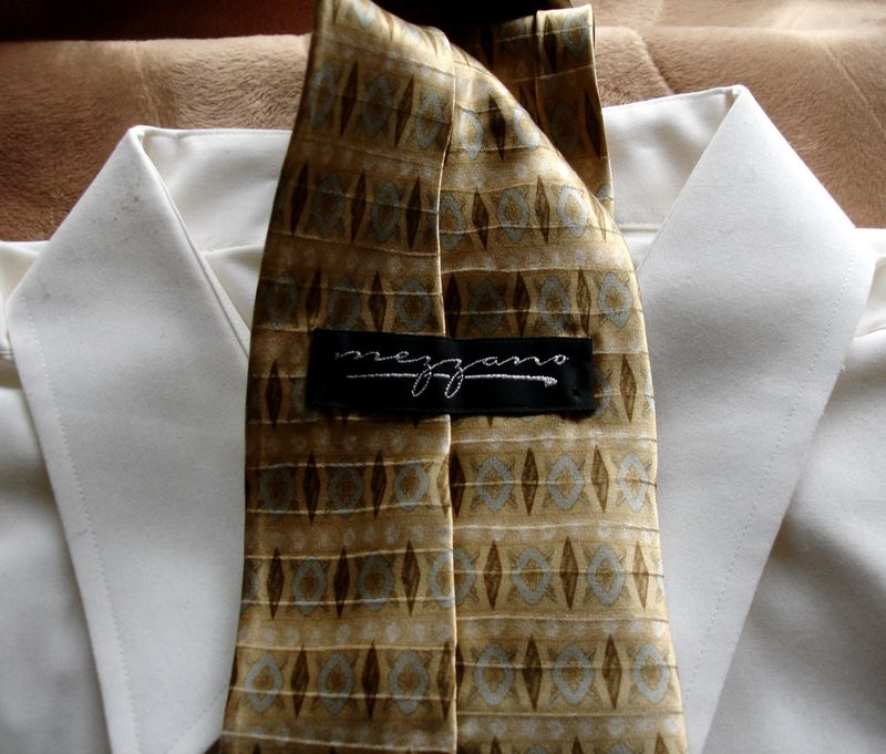 Men's Mezzano Gold Brown And Gray Blue Tie NWOT  - product images  of