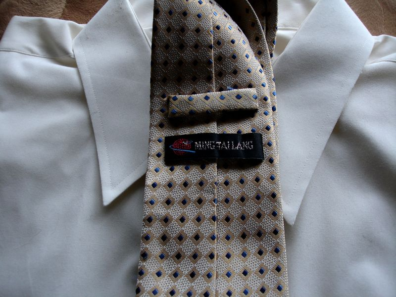 Men's Ming Tailang Shades Of Cream Gold And Blue Tie NWOT - product images  of