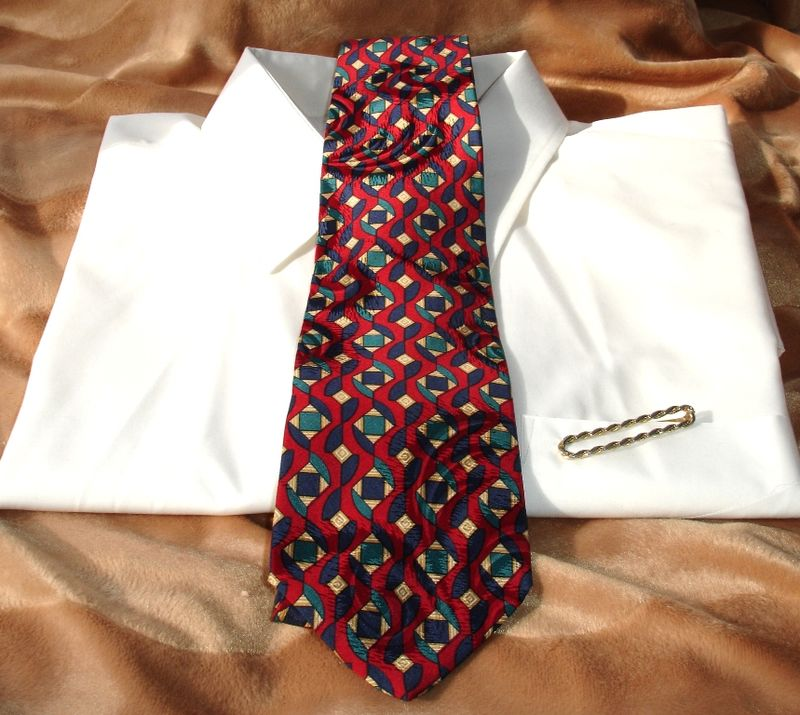 Pierre Balmain Vintage Mens Tie In Red Blue Green Gold Geometric Shapes - product images  of