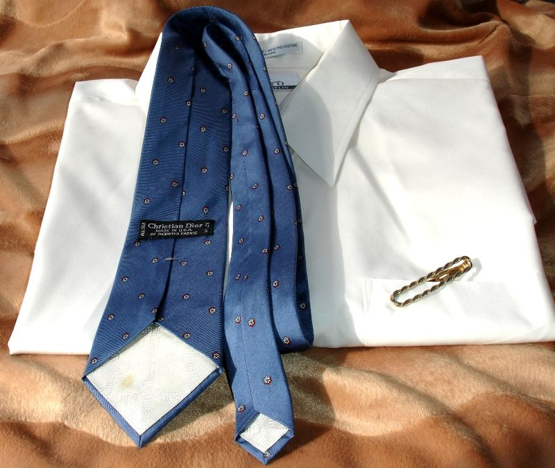 Christian Dior Vintage Mens Tie In Blue With Petite Geometric Print - product images  of