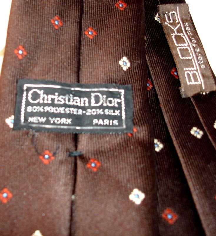 Christian Dior Men's Tie In Dark Brown With Petite Squares - product images  of