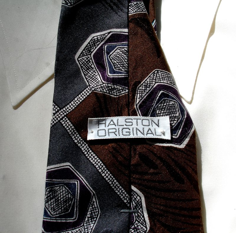 Mens Halston Original Tie In Brown Gray Purple White Navy And Teal - product images  of