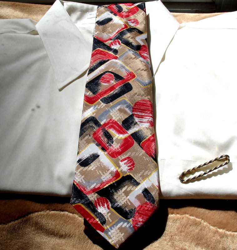 Mens Halston Original Abstract Tie In Tan Black Red White And Gray - product images  of