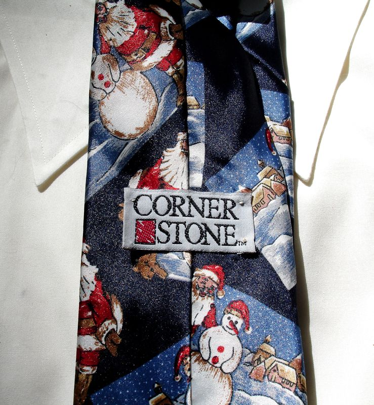 Christmas Tie With Santa And Snowman On Dark Navy Background - product images  of