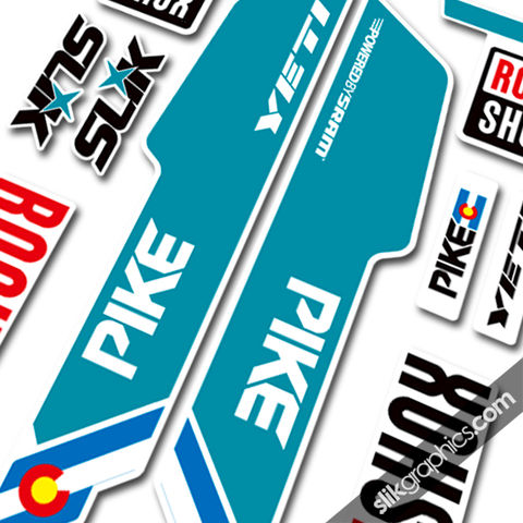 RockShox,PIKE,2013,Style,Decals,-,Yeti,Edition,for,white,forks,Rockshox, PIKE, 2013, 2014, forks, decals, stickers, Yeti