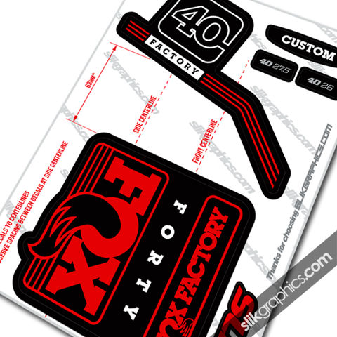 Fox,40,2016,Style,Decal,Kit,-,Black,Forks,Fox 40, fox 2016, 2016 decals, OE, fork decals, stickers, fox, 40