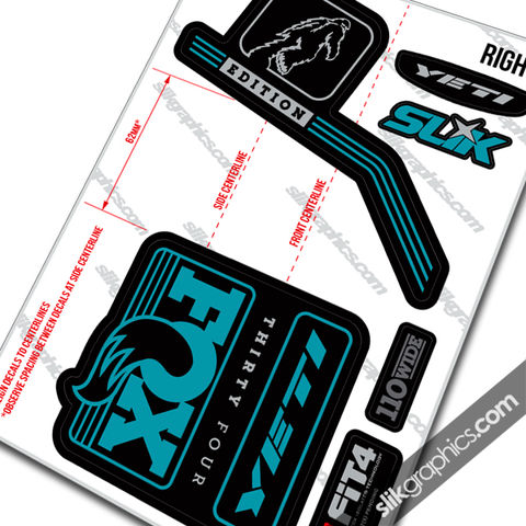 Yeti,Edition,Decal,Kit,for,Fox,2016,Forks, 2016, fork decals, stickers, yeti