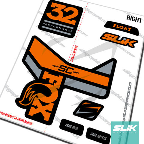 Fox,32,Step-Cast,Performance,Decal,Kit,-,Black,Forks,Fox 32, fox 2017, 2018 decals, OE, fork decals, stickers, fox, Step Cast, Step-Cast, performance series
