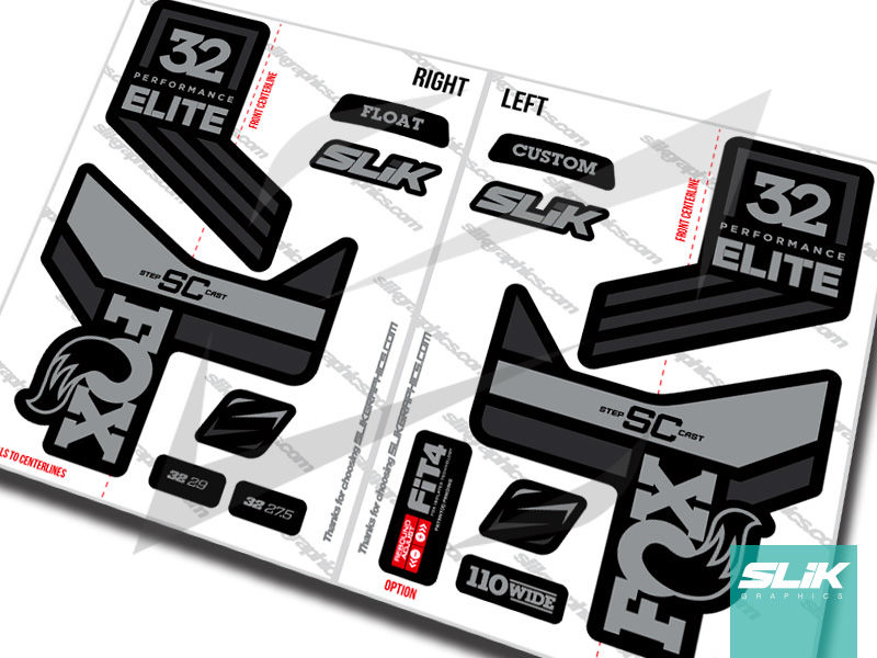 Fox 32 Step-Cast Performance ELITE Decal Kit - Black Forks - product images  of