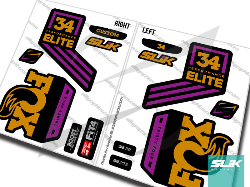 Fox 34 2018 Performance ELITE Decal Kit - Black Forks - product images  of
