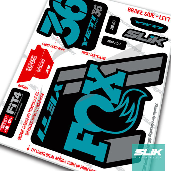 Fox 36 2018 Yeti Edition Decal Kit - Black Forks - product images  of