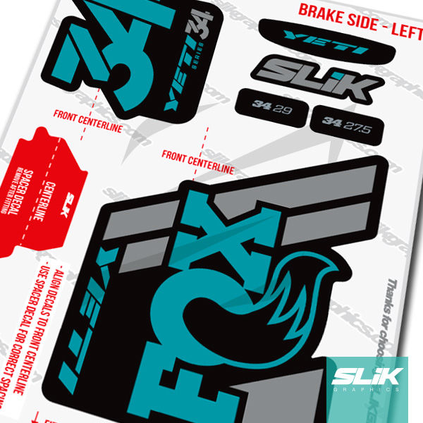 Fox 34 2018 Yeti Edition Decal Kit - Black Forks - product images  of