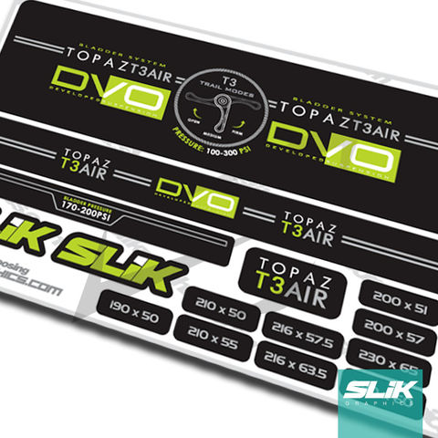 DVO,TOPAZ,T3,Shock,Decal,Kit,Shock Decals, Stickers, Mountain Bike, DVO, Suspension, Topaz, T3 Air, Custom Decals