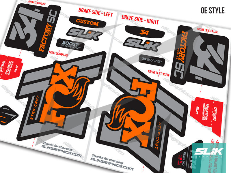 Fox 34 Step-Cast Factory Style Decal Kit - Black Forks - product images  of