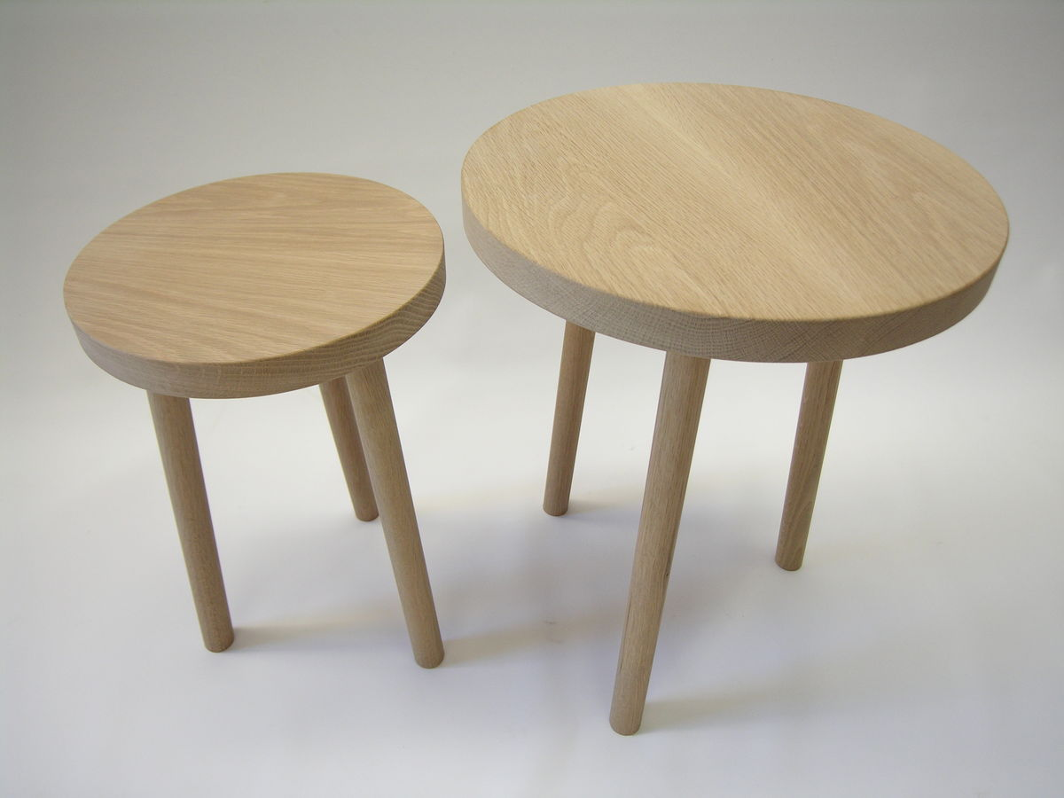 American Oak Round Sidetable Product Images Of