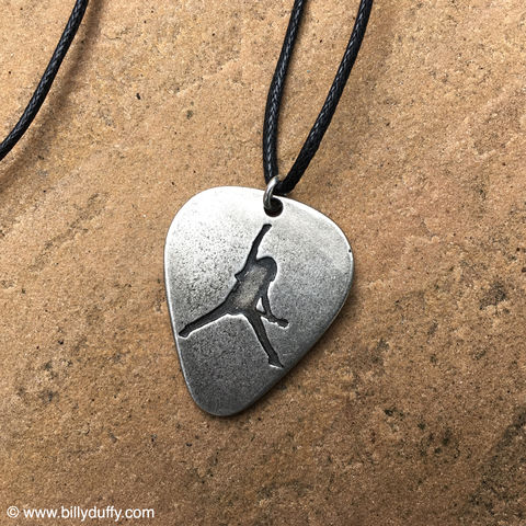 BD,Pewter,Pick,Pendant,billy duffy logo pewter guitar pick pendant