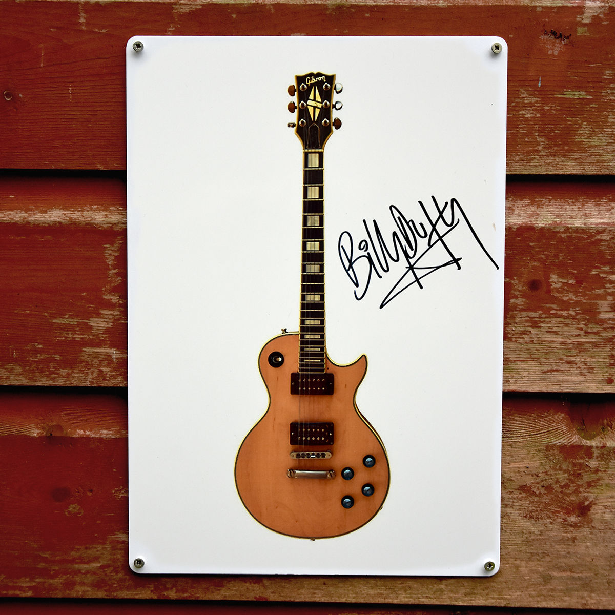 Signed 'Ronno' Les Paul Metal Sign - product images  of
