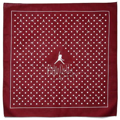 Signed,BD,Logo,Bandana,-,Burgundy/White,billy duffy bandana scalf scarve scarves