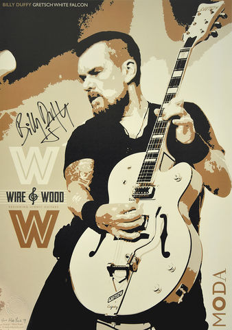 Signed,Limited,Edition,Wire,+,Wood,Poster,Billy Duffy Signed Poster The Cult Gretsch White Falcon